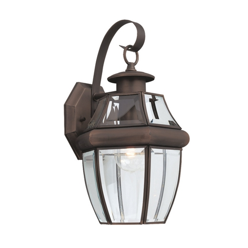 Sea Gull Lighting Outdoor Wall Light with Clear Glass in Antique Bronze Finish 8067-71