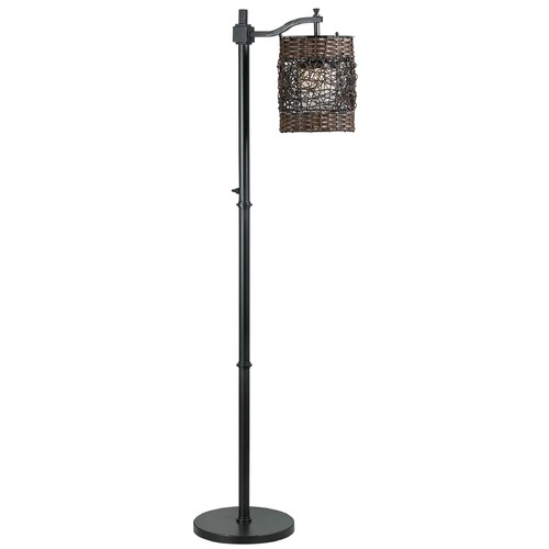 Kenroy Home Lighting Floor Lamp with Brown Wicker Shade in Bronze Finish 32144ORB