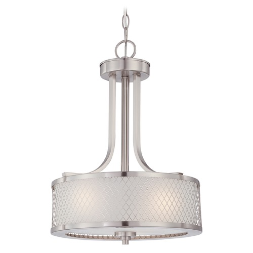 Nuvo Lighting Modern Drum Pendant Light with White Shade in Brushed Nickel Finish 60/4686