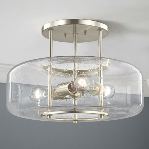 Design Classics Lighting 16-Inch Seeded Glass Semi-Flush Ceiling Light Satin Nickel 3 Lt 1811-09