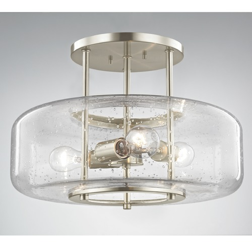 Design Classics Lighting Seeded Glass Semi-Flush Ceiling Light Satin Nickel 3 Lt 1811-09
