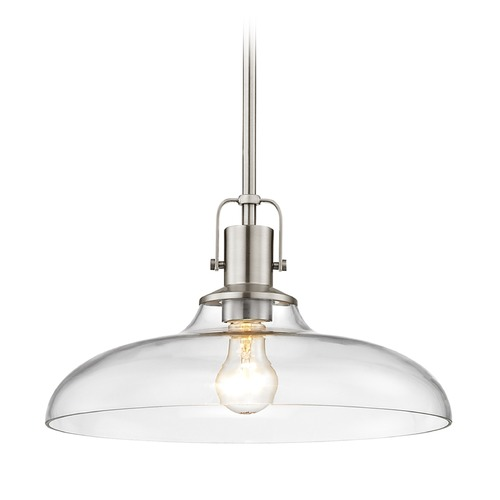 Design Classics Lighting Clear Glass Pendant Light Satin Nickel Finish 14-Inch Wide 1762-09 G1784-CL