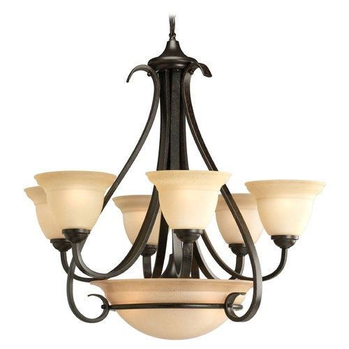 Progress Lighting Progress Chandelier with Beige / Cream Glass in Forged Bronze Finish P4417-77