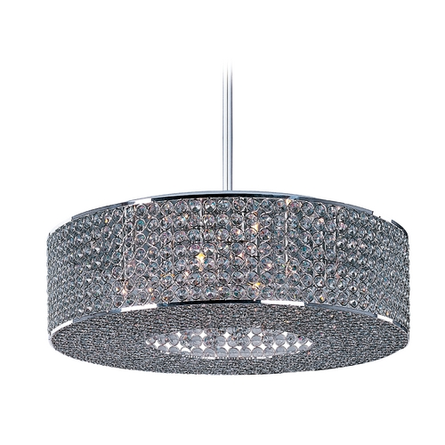 Maxim Lighting Maxim Lighting Glimmer Plated Silver Pendant Light with Drum Shade 39895BCPS