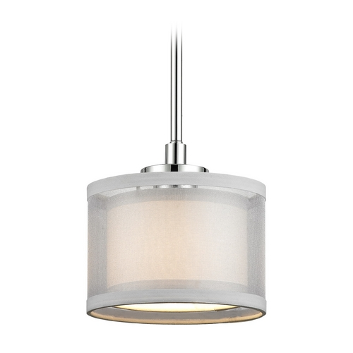 Dolan Designs Lighting Double Organza Drum Mini Pendant Light Chrome 1 Lt 1271-26