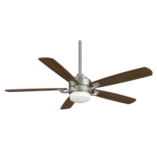 Fanimation Fans Modern Ceiling Fan with Light with White Glass in Satin Nickel Finish FP8003SN