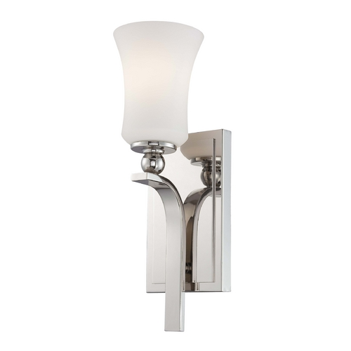 Minka Lavery Modern Sconce Wall Light with White Glass in Polished Nickel Finish 6621-613