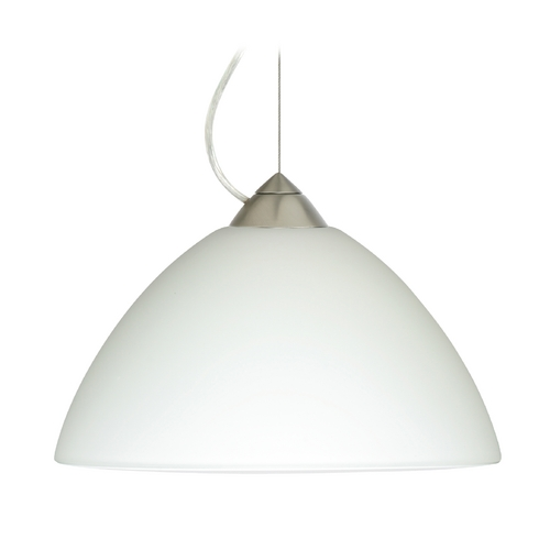 Besa Lighting Modern Pendant Light with White Glass in Satin Nickel Finish 1KX-420207-SN