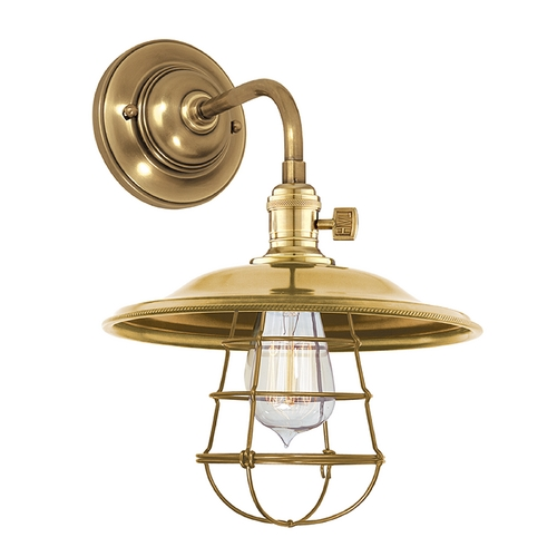 Hudson Valley Lighting Sconce Wall Light in Aged Brass Finish 8000-AGB-MS2-WG