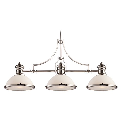 Elk Lighting Island Light with White Glass in Polished Nickel Finish 66215-3