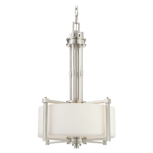 Nuvo Lighting Modern Drum Pendant Light with White Glass in Brushed Nickel Finish 60/4706