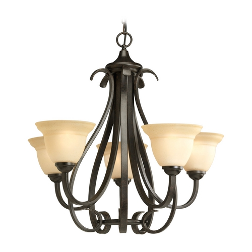 Progress Lighting Progress Chandelier with Beige / Cream Glass in Forged Bronze Finish P4416-77