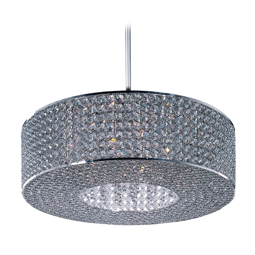 Maxim Lighting Crystal Pendant Light in Plated Silver Finish 39896BCPS