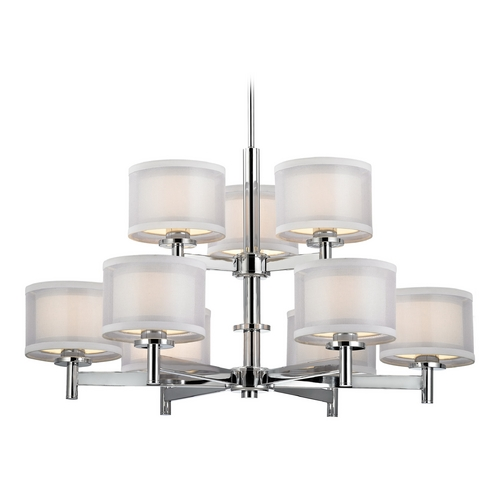 Dolan Designs Lighting Modern Chandelier with White Shades in Chrome Finish 1272-26