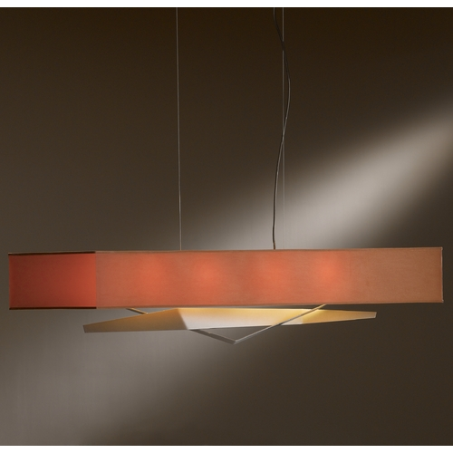 Hubbardton Forge Lighting Hubbardton Forge Lighting Facet Burnished Steel Island Light with Rectangle Shade 137620-08-685