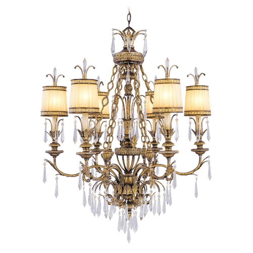 Livex Lighting Livex Lighting La Bella Vintage Gold Leaf Crystal Chandelier 8806-65