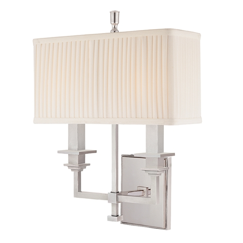 Hudson Valley Lighting Sconce Wall Light with White Shades in Polished Nickel Finish 242-PN