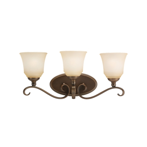 Sea Gull Lighting Bathroom Light with Beige / Cream Glass in Russet Bronze Finish 44381-829