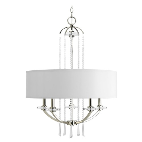 Progress Lighting Progress Crystal Drum Pendant Light with White Shade P4629-104