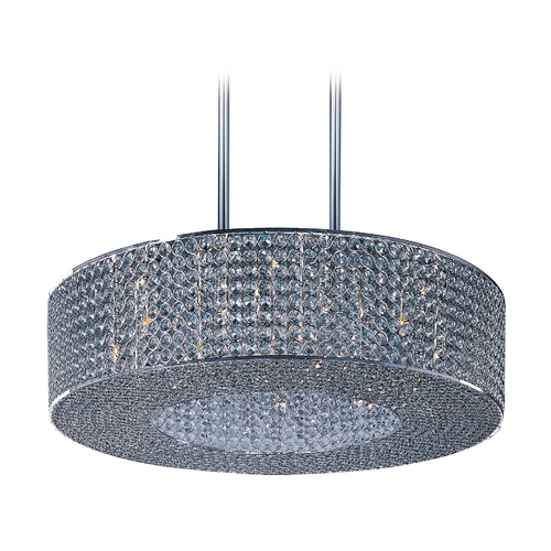 Maxim Lighting Crystal Pendant Light in Plated Silver Finish 39897BCPS