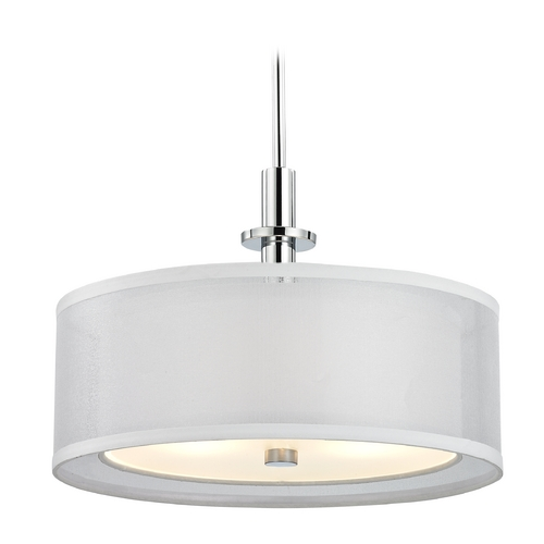 Dolan Designs Lighting Double Organza Drum Pendant Light Chrome 16 Inches Wide 3 Lt 1274-26