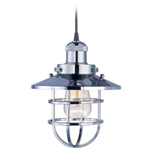 Maxim Lighting Maxim Lighting Mini Hi-Bay Polished Nickel Mini-Pendant Light with Coolie Shade 25030PN