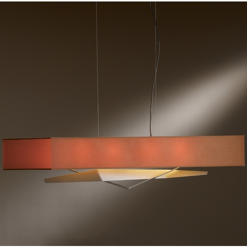 Hubbardton Forge Lighting Hubbardton Forge Lighting Facet Burnished Steel Island Light with Rectangle Shade 137620-08-686