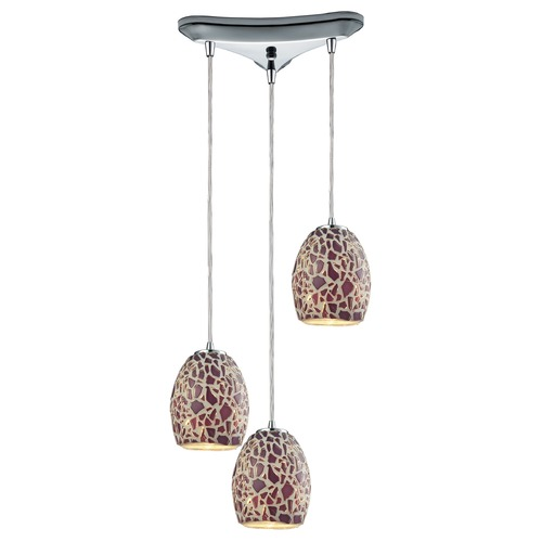 Elk Lighting Elk Lighting Orbital Polished Chrome Multi-Light Pendant with Bowl / Dome Shade 10429/3