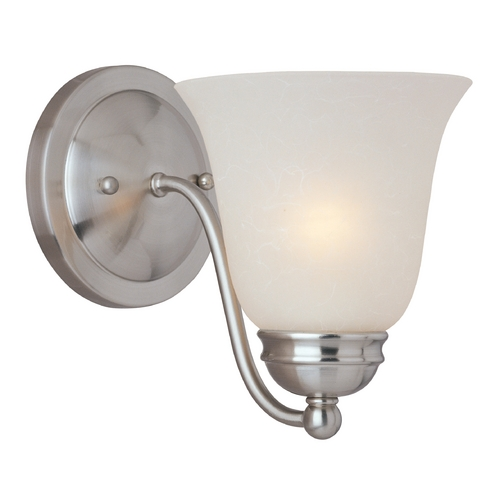 Maxim Lighting Modern Sconce Wall Light with White Glass in Satin Nickel Finish 85131ICSN