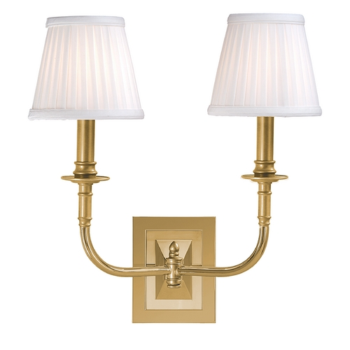Hudson Valley Lighting Sconce Wall Light with White Shades in Aged Brass Finish 2702-AGB