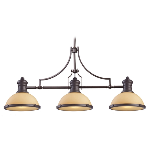 Elk Lighting Island Light with Amber Glass in Oiled Bronze Finish 66235-3