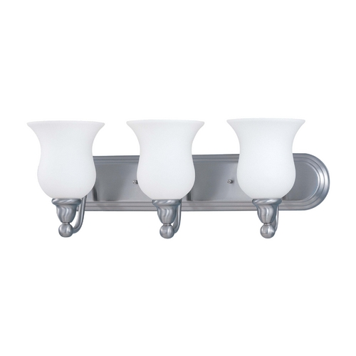 Nuvo Lighting Bathroom Light with White Glass in Brushed Nickel Finish 60/1814