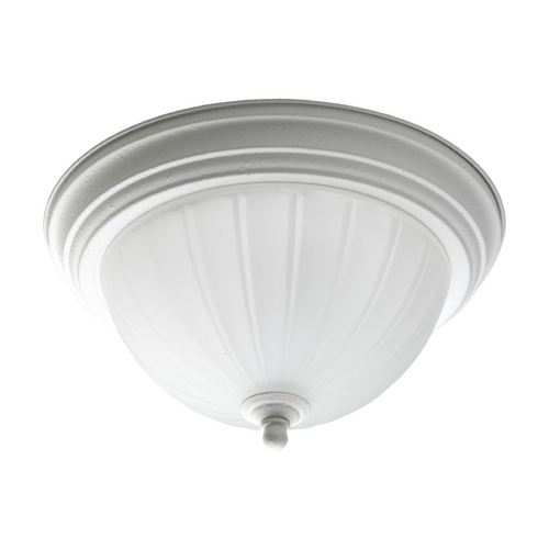 Progress Lighting Progress Flushmount Light with White Glass in White Finish P3816-30