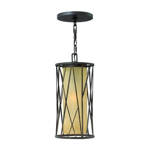 Hinkley Lighting Outdoor Hanging Light with Amber Glass in Regency Bronze Finish 1152RB