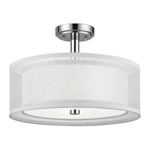 Dolan Designs Lighting Double Organza Drum Ceiling Light Chrome 16 Inches Wide 3 Lt 1275-26