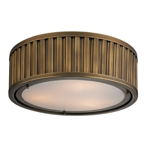 Elk Lighting LED Flushmount Light in Aged Brass Finish 46121/3-LED