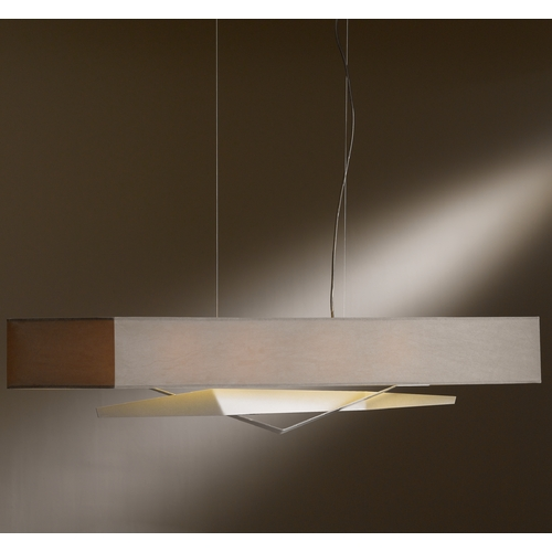 Hubbardton Forge Lighting Hubbardton Forge Lighting Facet Burnished Steel Island Light with Rectangle Shade 137620-08-687