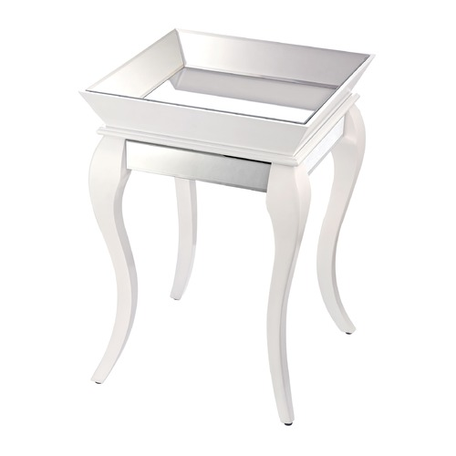 Sterling Lighting Side Table With Bent Glass In White 114-79