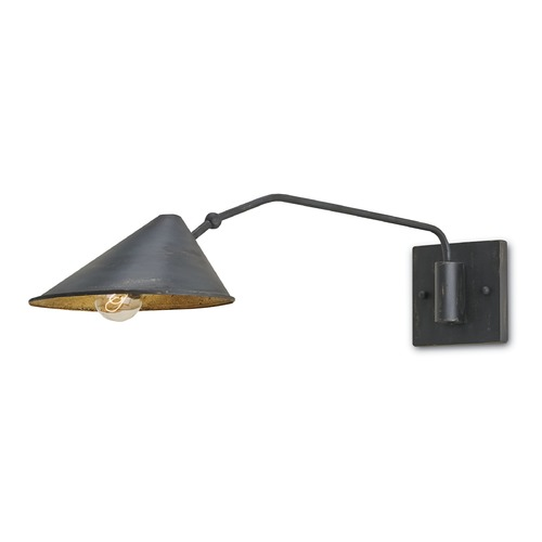 Currey and Company Lighting Currey and Company Lighting French Black/Gold Leaf Wall Lamp 5177