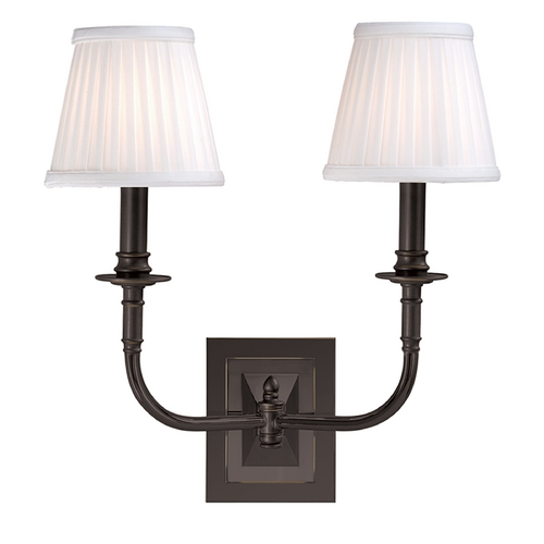 Hudson Valley Lighting Sconce Wall Light with White Shades in Old Bronze Finish 2702-OB