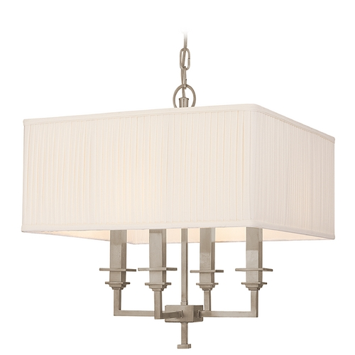 Hudson Valley Lighting Pendant Light with White Shades in Antique Nickel Finish 244-AN