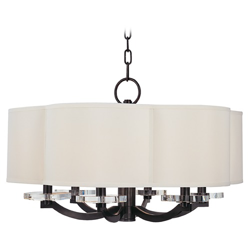 Hudson Valley Lighting Modern Drum Pendant Light with White Shade in Old Bronze Finish 1426-OB