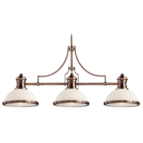 Elk Lighting Island Light with Amber Glass in Oiled Bronze Finish 66245-3
