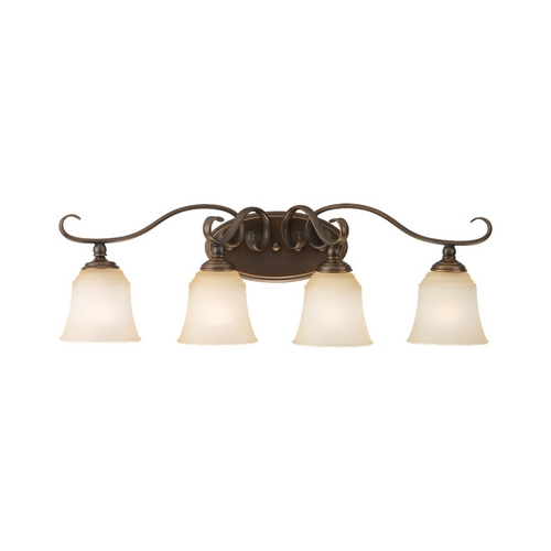 Sea Gull Lighting Bathroom Light with Beige / Cream Glass in Russet Bronze Finish 44382-829
