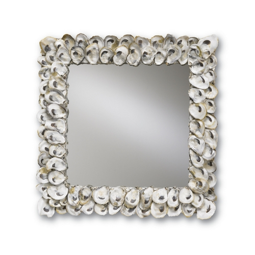 Currey and Company Lighting Oyster Shell Square 20-Inch Mirror 1348