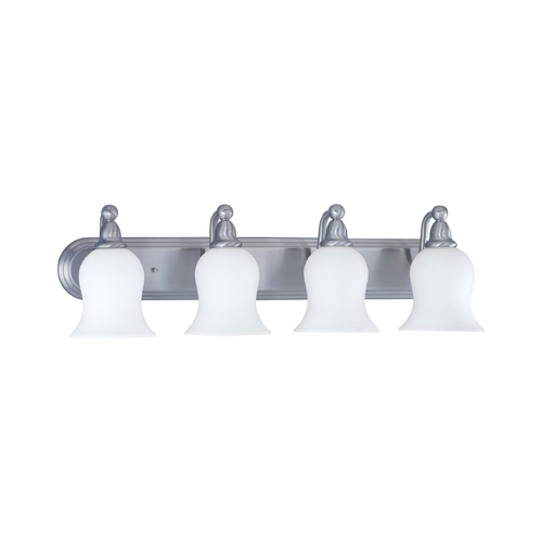 Nuvo Lighting Bathroom Light with White Glass in Brushed Nickel Finish 60/1815