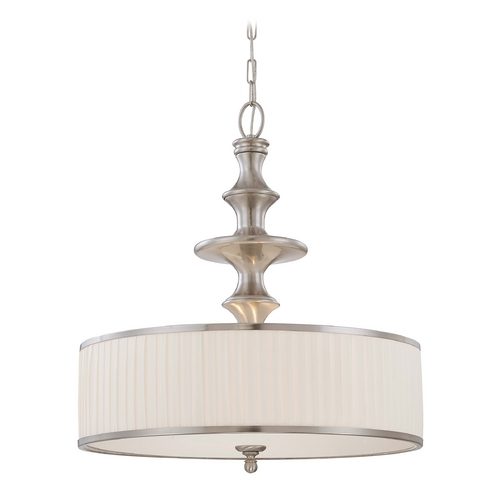Nuvo Lighting Modern Drum Pendant Light with White Shade in Brushed Nickel Finish 60/4736