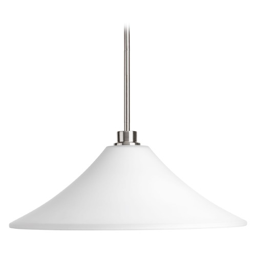 Progress Lighting Progress Lighting Brushed Nickel Pendant Light with Coolie Shade P5193-09
