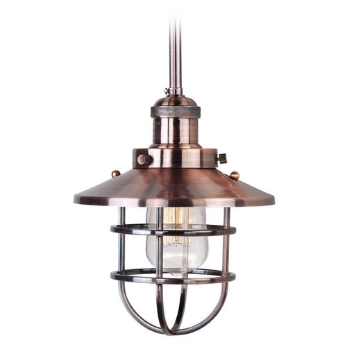 Maxim Lighting Maxim Lighting Mini Hi-Bay Antique Copper Mini-Pendant Light with Coolie Shade 25050ACP