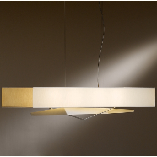 Hubbardton Forge Lighting Hubbardton Forge Lighting Facet Burnished Steel Island Light with Rectangle Shade 137620-08-766